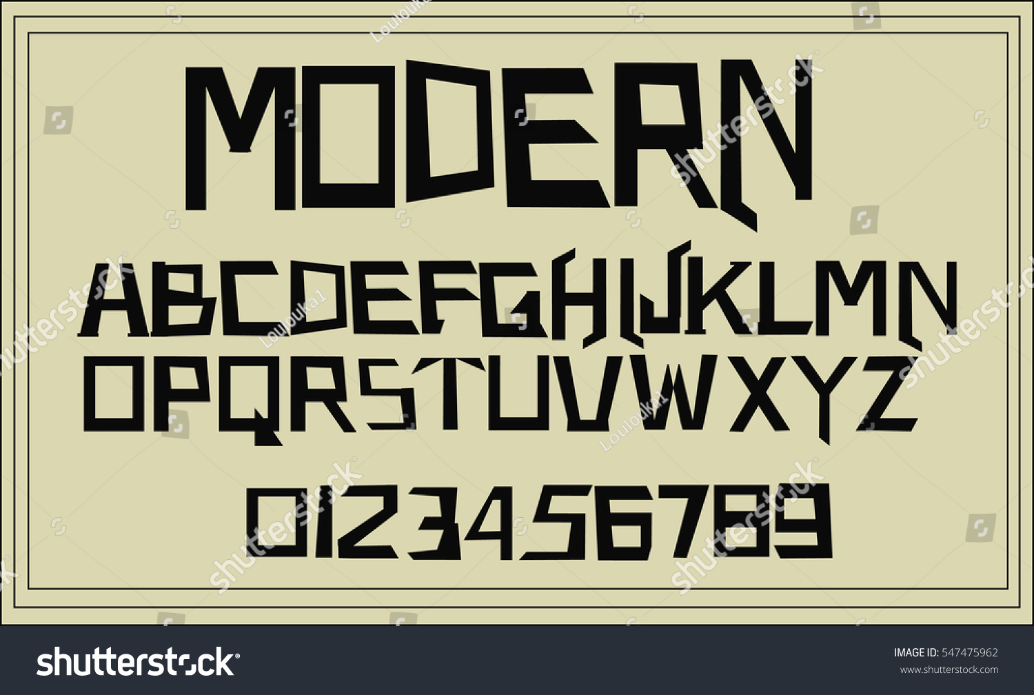 Geometric modern font alphabet and numbers vector