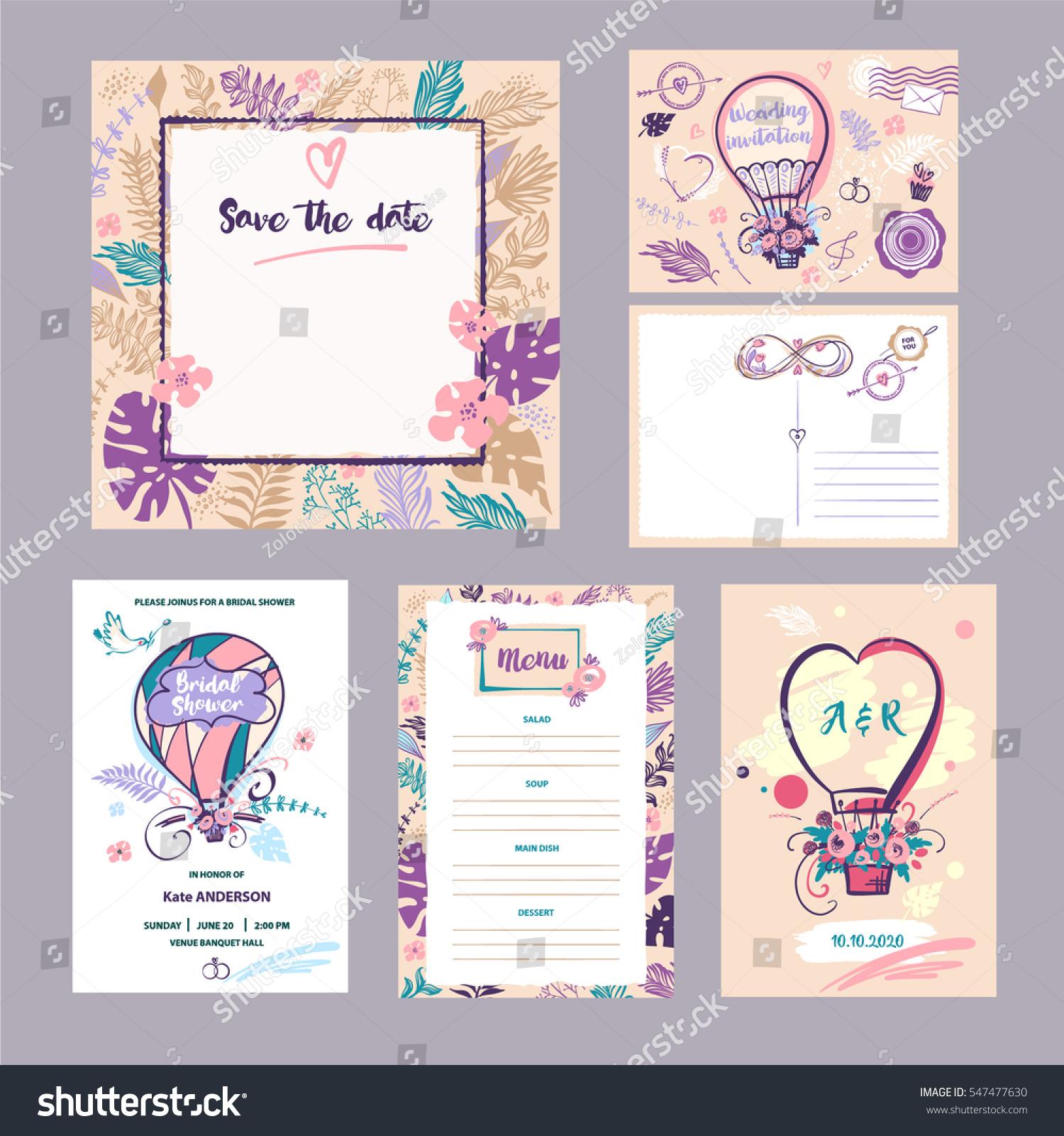 set of wedding accessories bridal shower poster