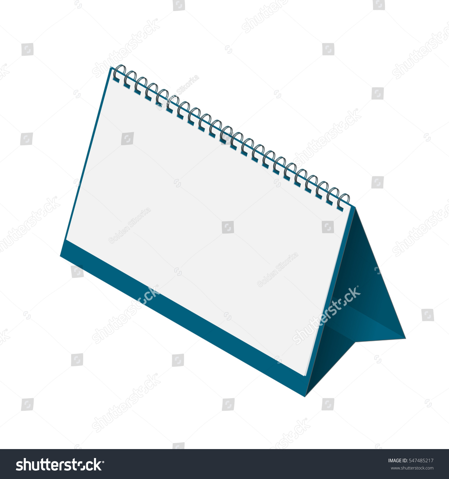 Desk Calendar Template Blank Pages Isolated Stock Vector