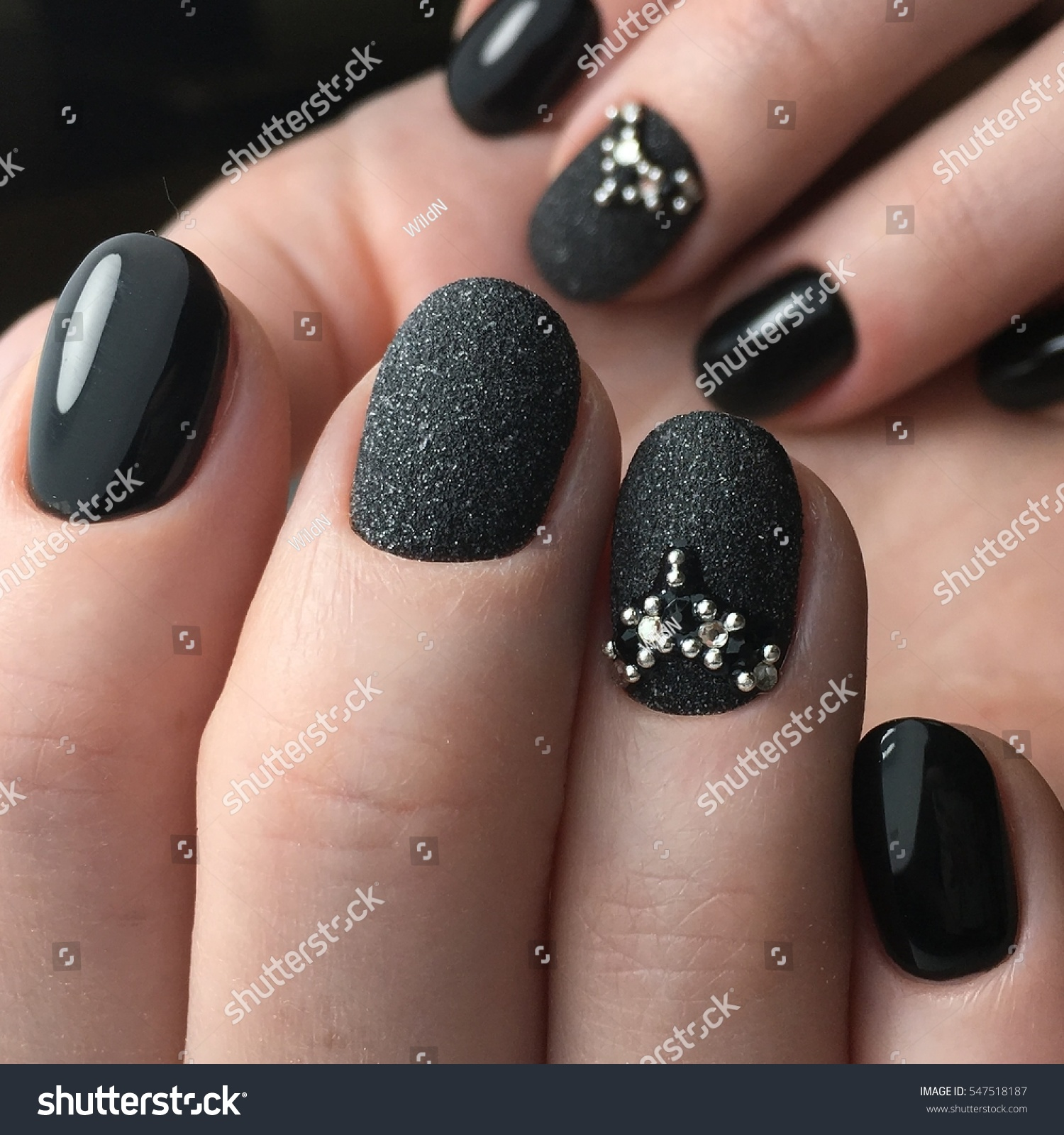 Dark Brilliant Nails Manicure Stock Photo (Royalty Free) 547518187 ...