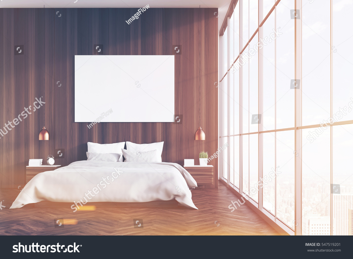 Front View Bedroom Interior King Size Stock Illustration 547519201