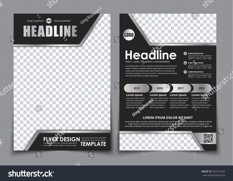 template black a 4 brochure chrome elements stock vector royalty