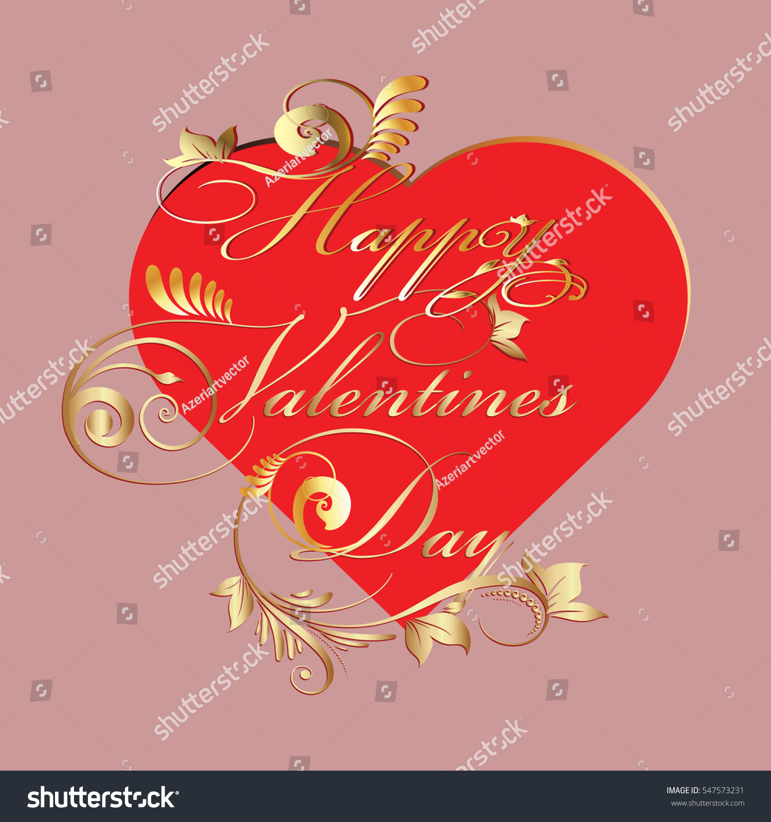 Happy Valentines Day Greetings Vintage Card Stock Vector 547573231
