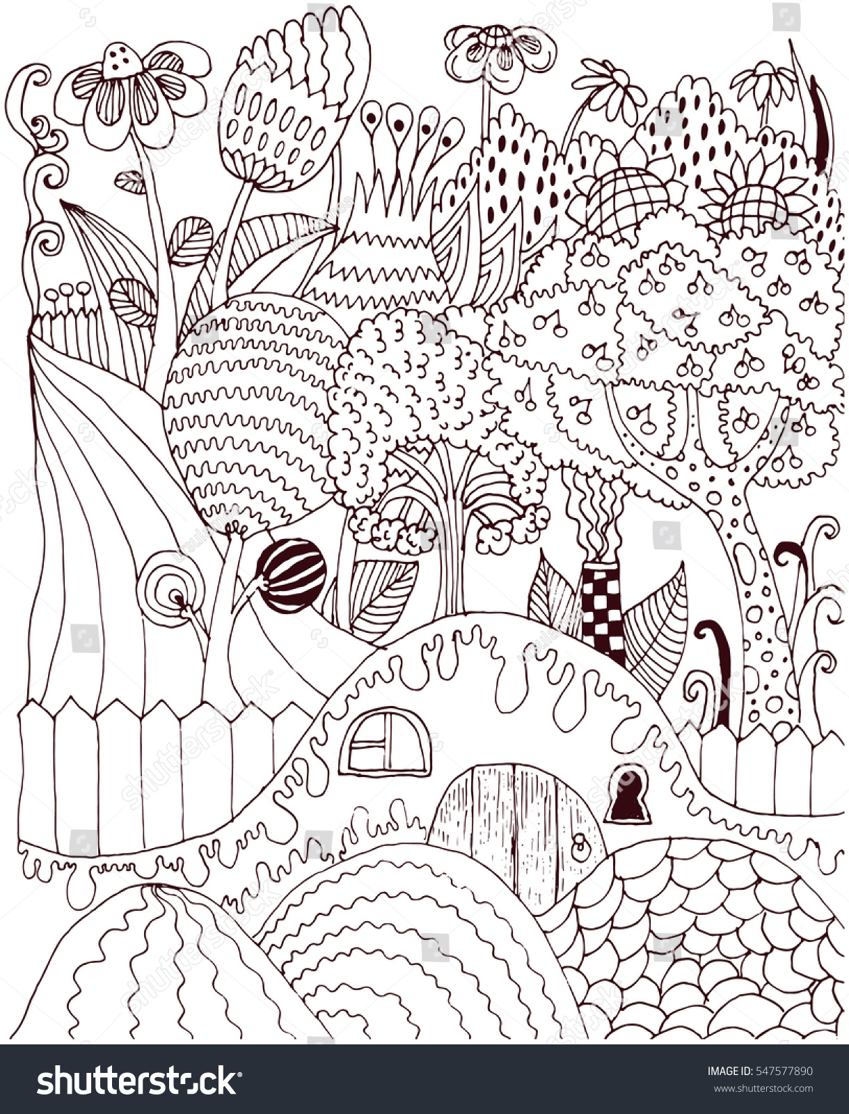 vector cute coloring illustration with miracle rustic scenery coloring book image art therapy - Cute Coloring Books