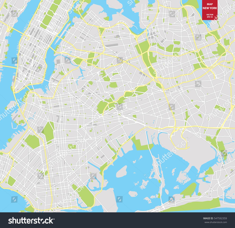 Vector Color Map New York City Stock Vector  Shutterstock - New york map eps