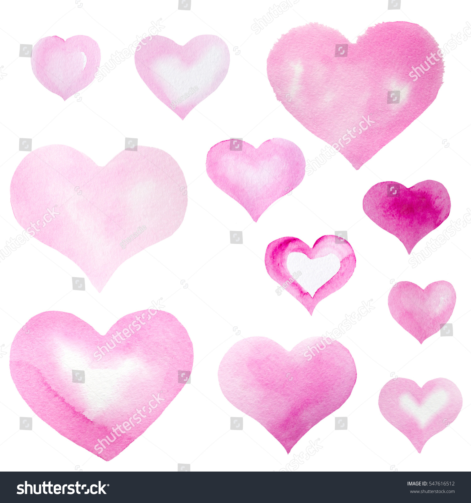 Set pink heart symbols hand painted stock illustration 547616512 set of pink heart symbols hand painted in watercolor isolated on white buycottarizona Gallery