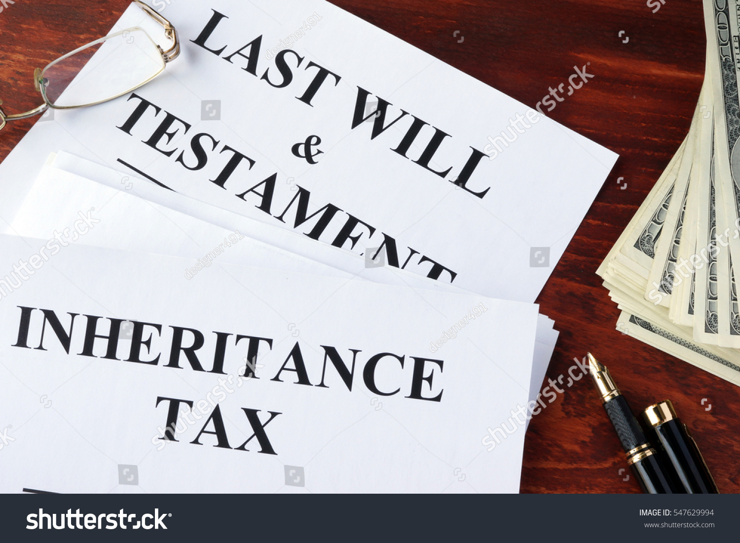 Inheritance Tax Form On Table Cash Stock Photo 547629994 ...
