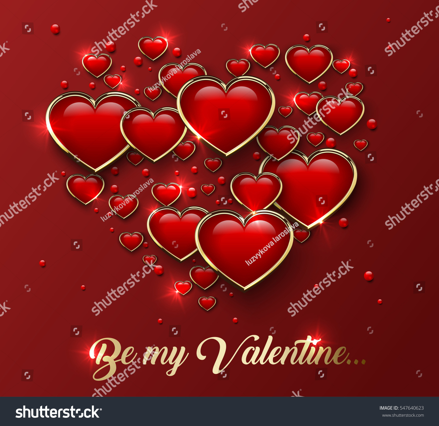 Be My Valentine Greeting Card Glossy Stock Vector Royalty Free