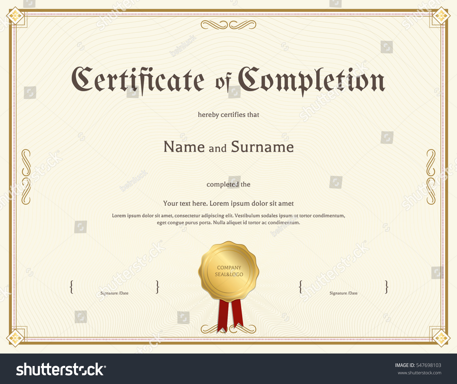 Certificate Completion Template Vintage Theme Stock Vector