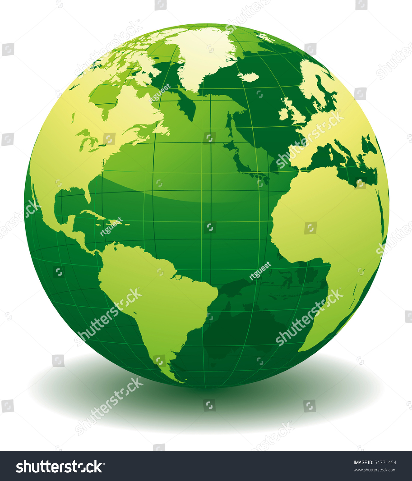 Green World Globe Editable Vector Illustration Stock Vector Royalty