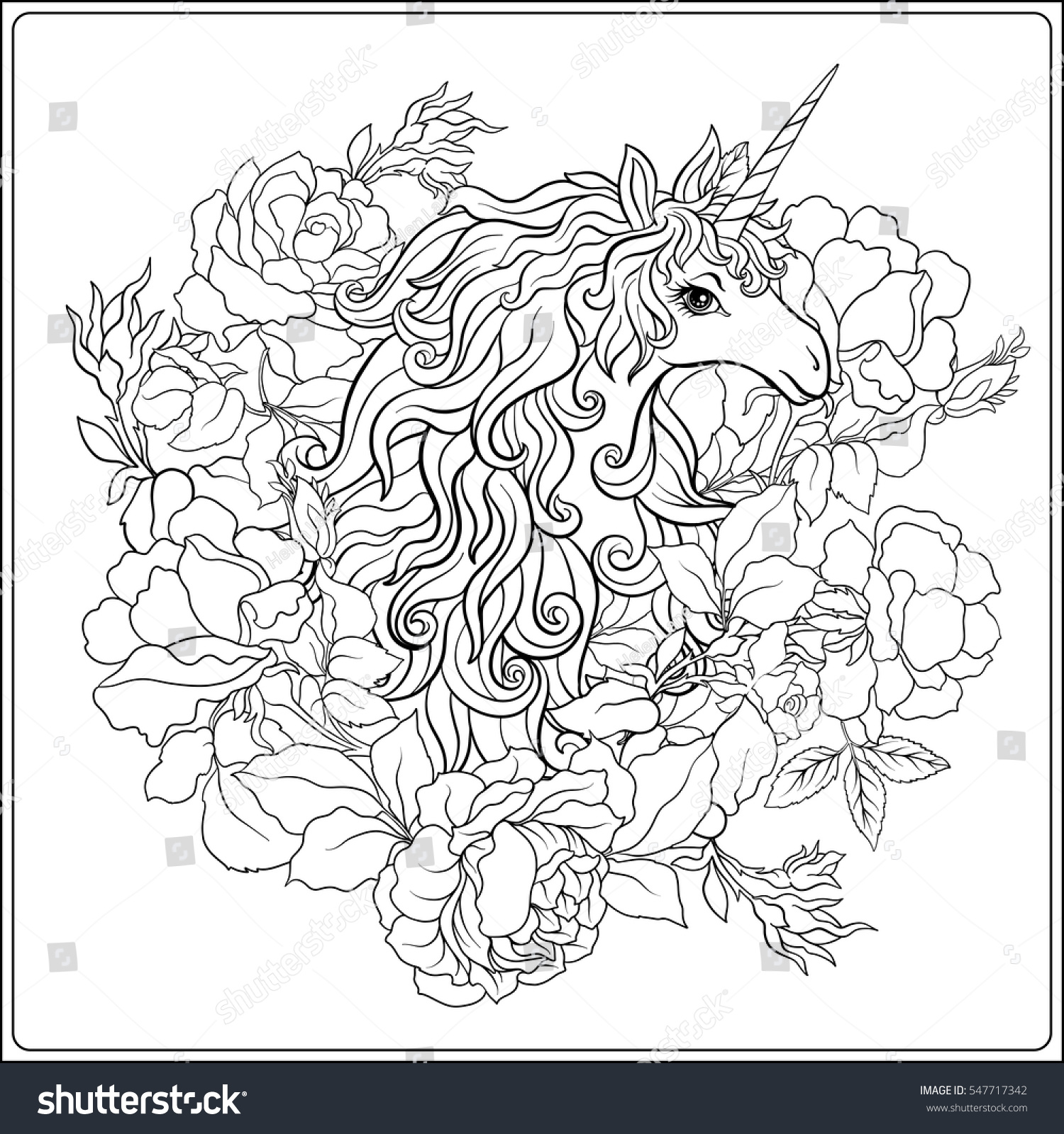 Coloring Pages For Adults Unicorns - Unicorn the composition consists of a unicorn surrounded by a bouquet of roses outline