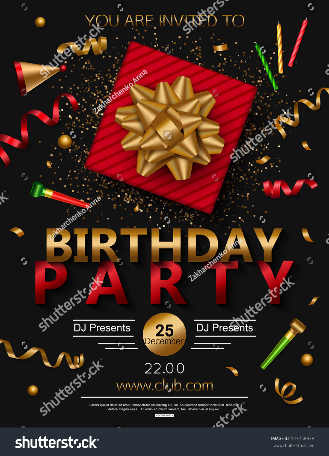 birthday party poster red gift box stock vector royalty free