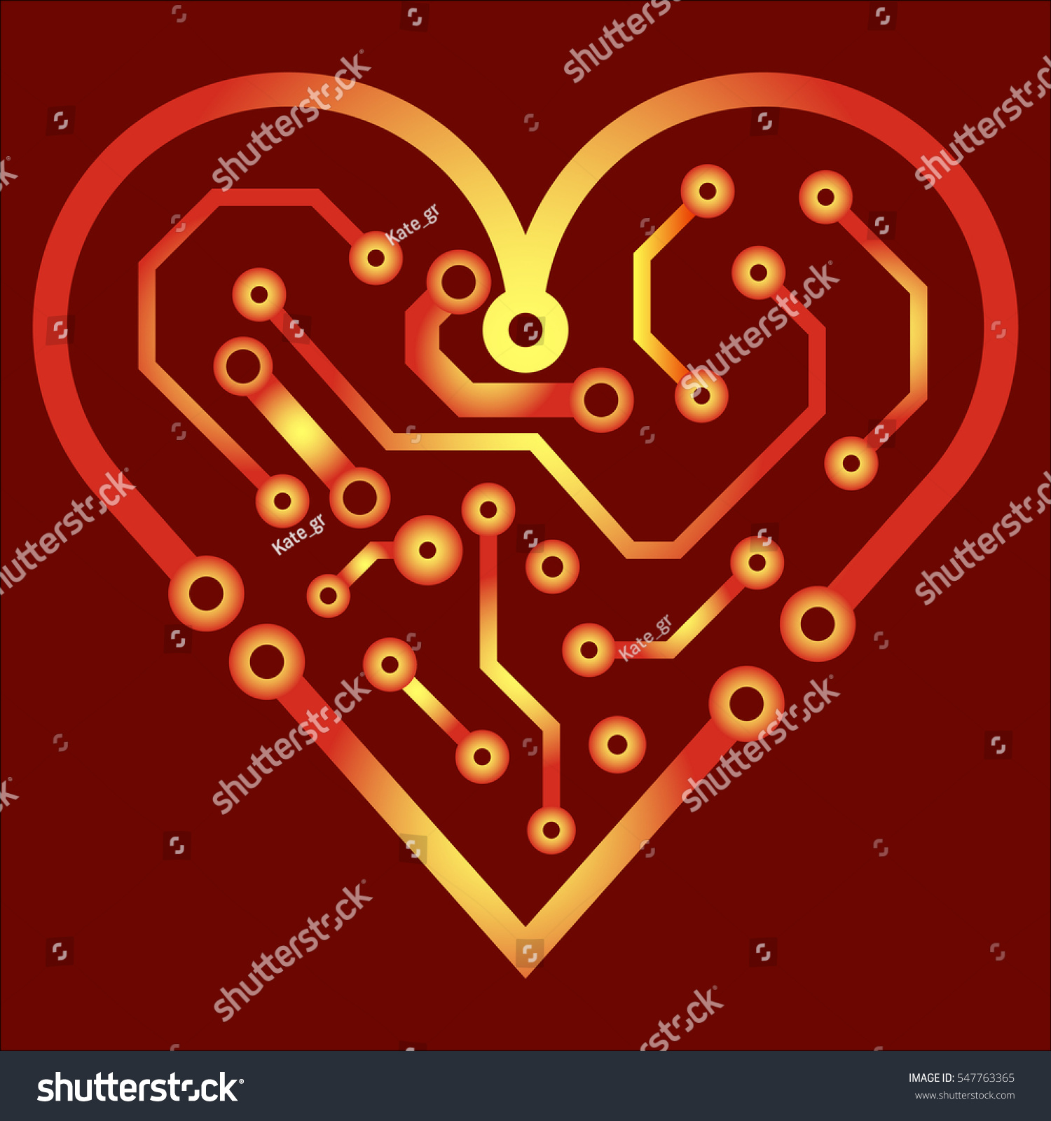 Vector Circuit Board Background Heart Valentine Stock Vector ...