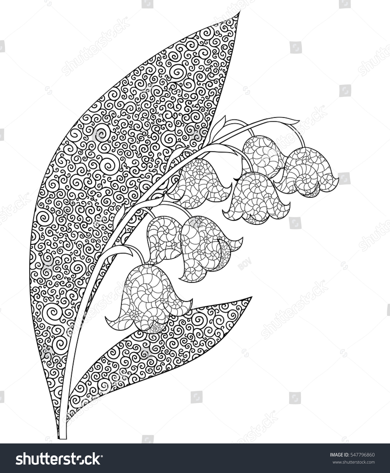 Lily Of The Valley With Leaves Spring Flower Doodle Page For Coloring Book