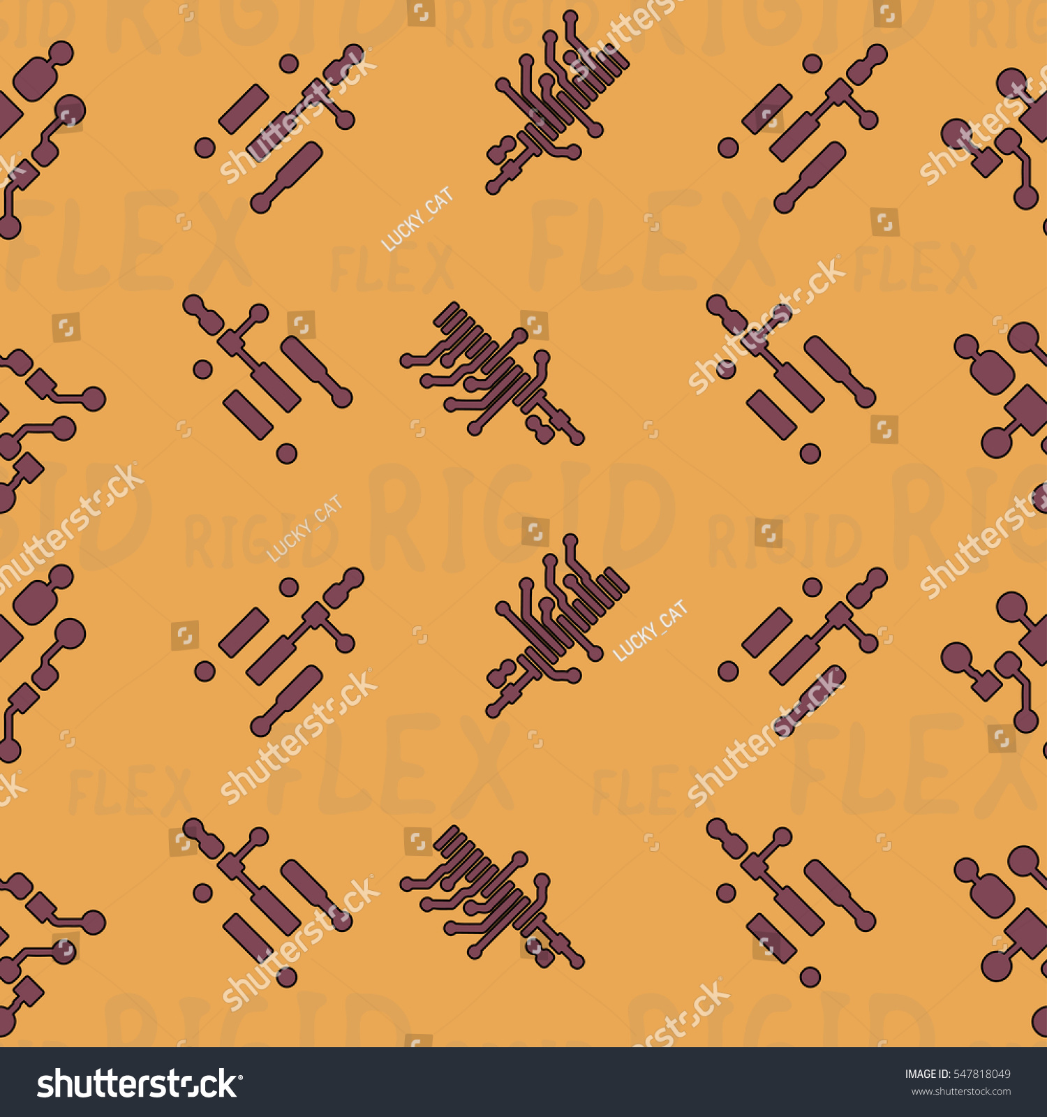 Seamless Pattern Abstract Routing On Colorful Stock Vector