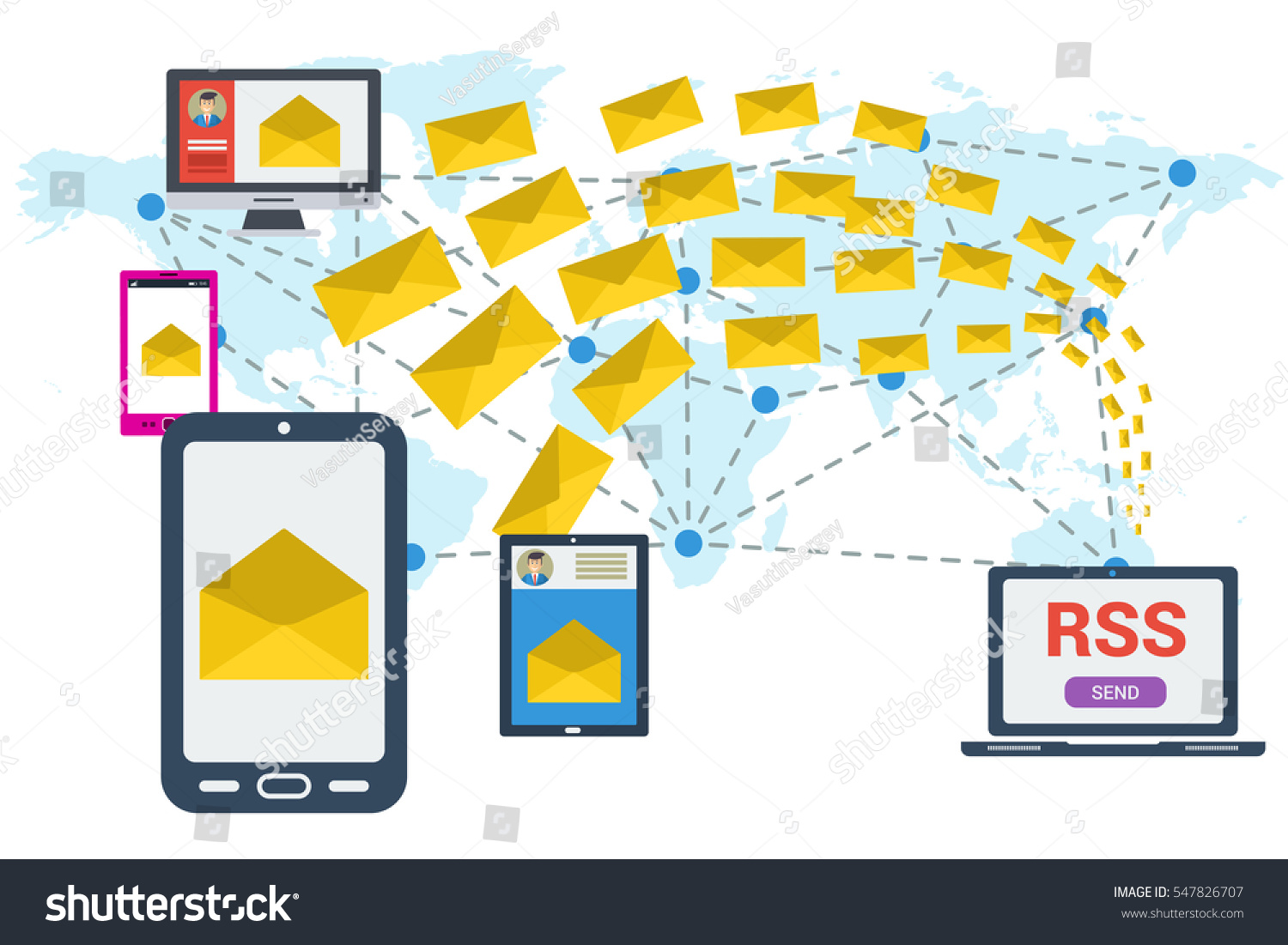Different devices received letter computer sending stock vector different devices received a letter and computer sending many yellow envelopes around the world vector publicscrutiny Images