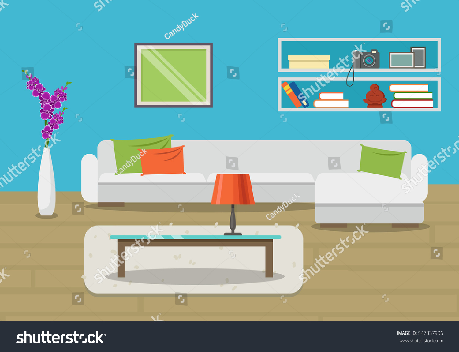 Vector image living room interior furniture stock vector for Apartment design vector