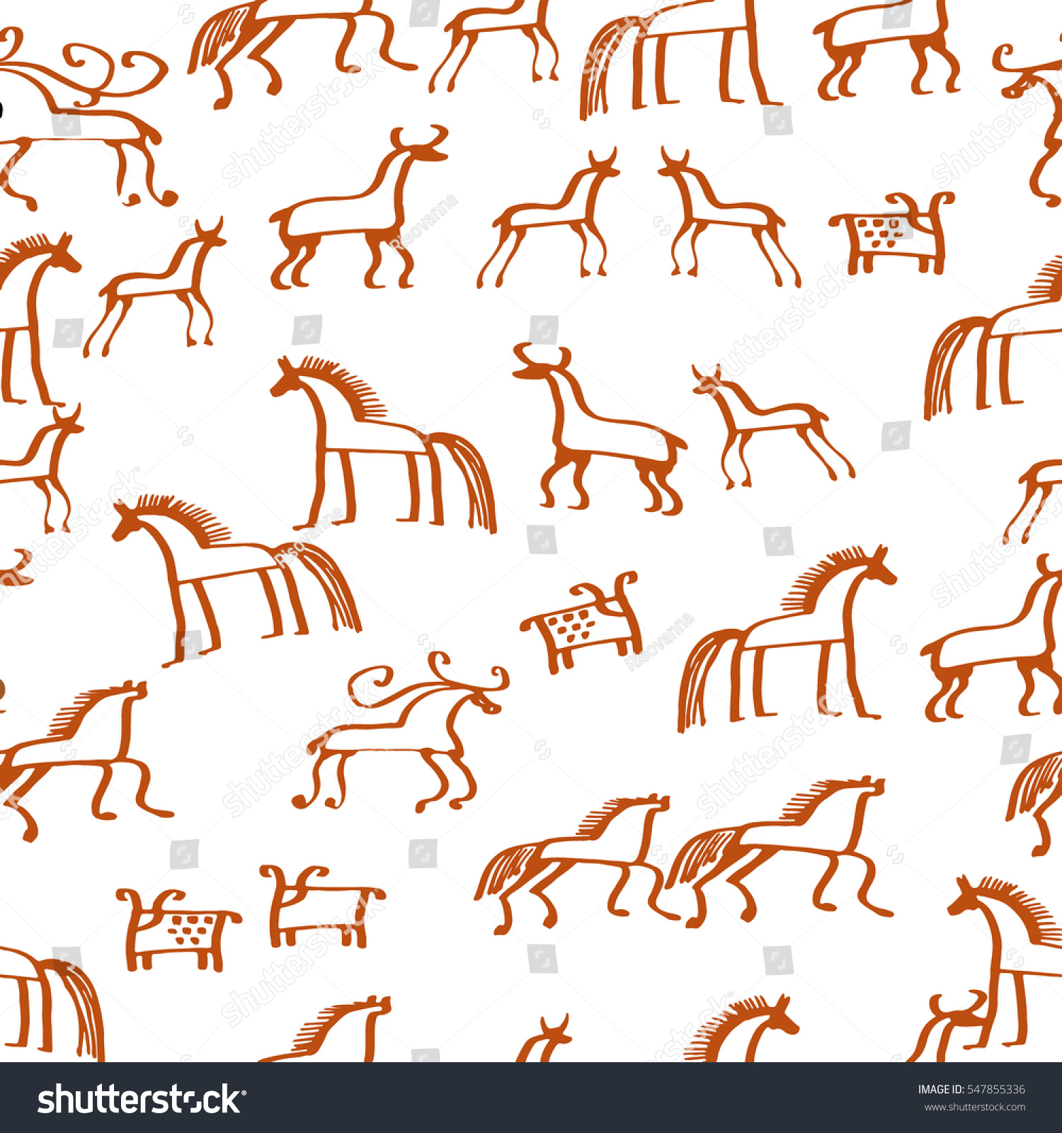 Rock paintings ethnic animals sketch your stock vector 547855336 rock paintings ethnic animals sketch for your design vector seamless pattern tribal painting biocorpaavc Image collections