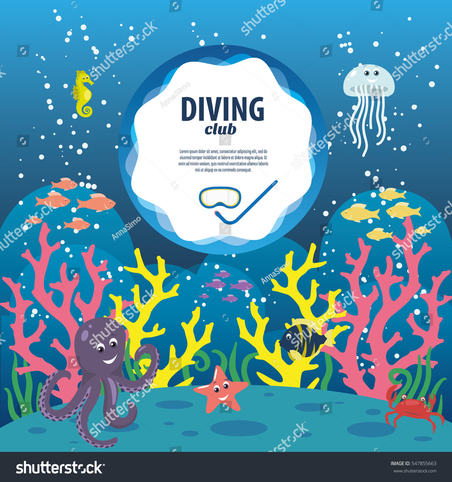 sea life poster colorful coral reefs stock vector 547855663