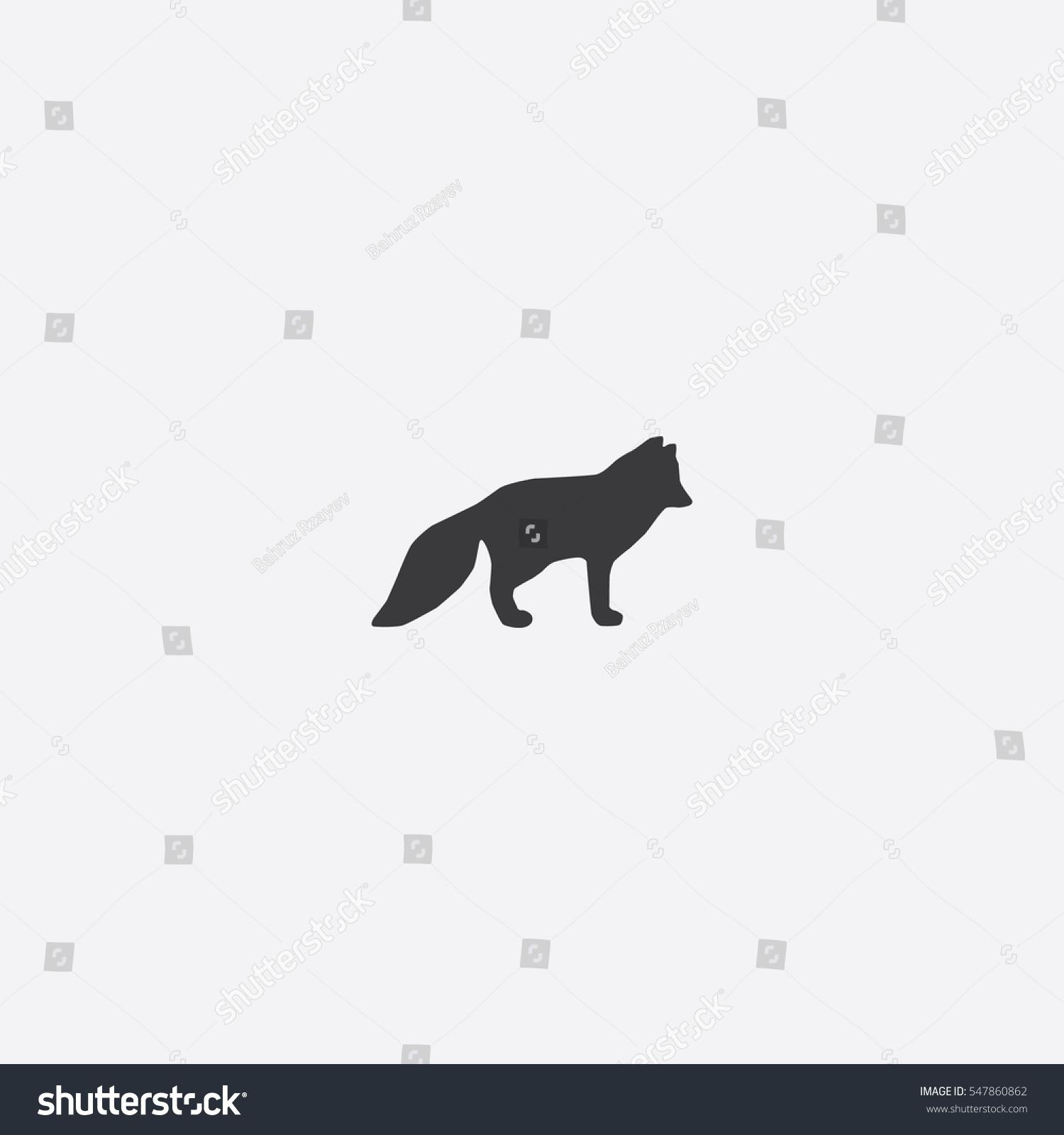 Arctic Fox Icon Silhouette Vector Illustration Stock ...