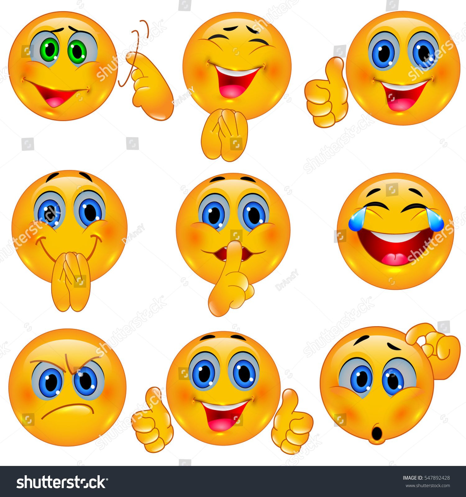 set beautiful smiley faces emotional icons stock vector 547892428