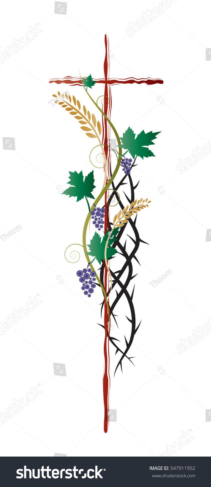 Christian Abstract Religious Illustration Cross Thorns Stock Vector