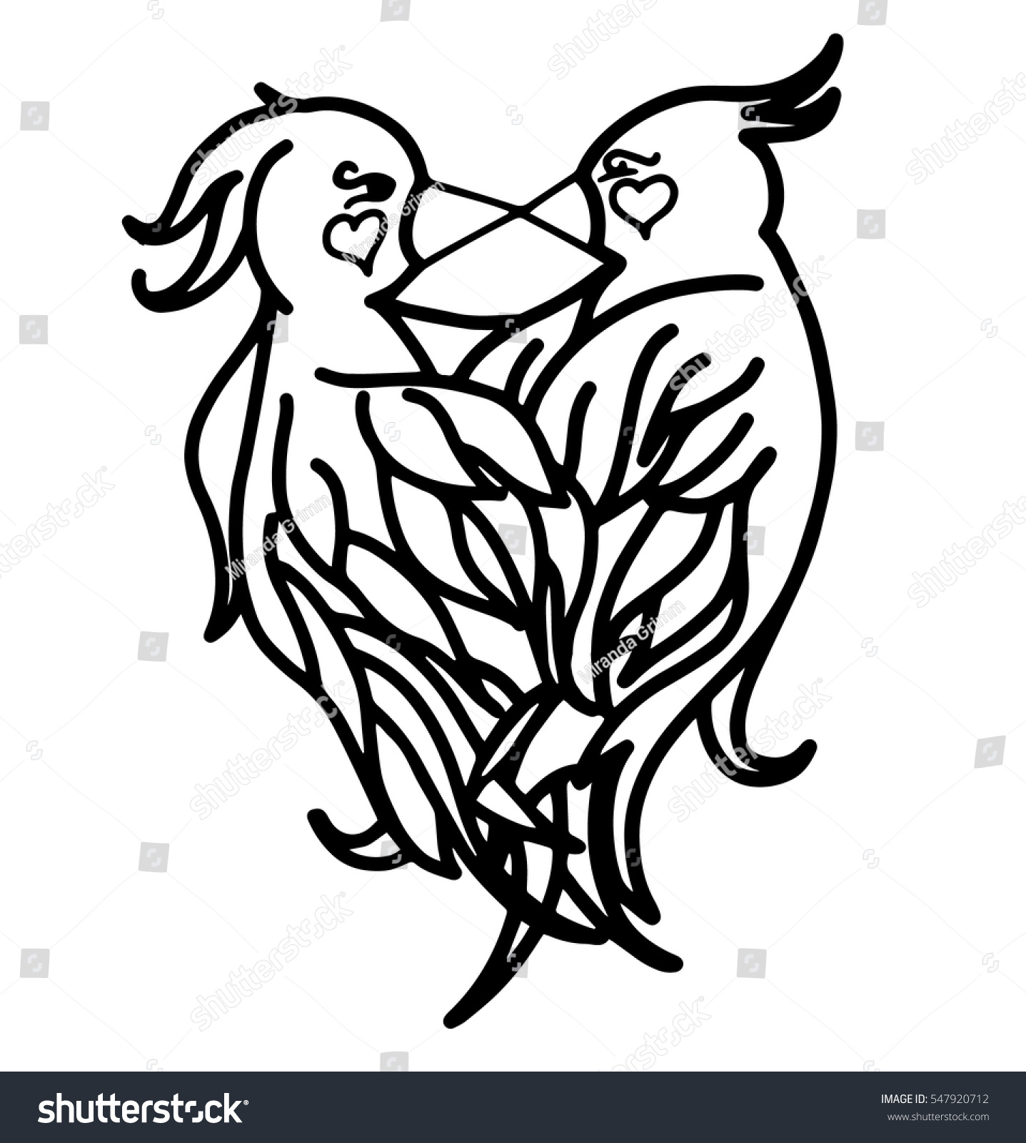 Love Birds Coloring Page Hand Drawn Stock Vector 547920712
