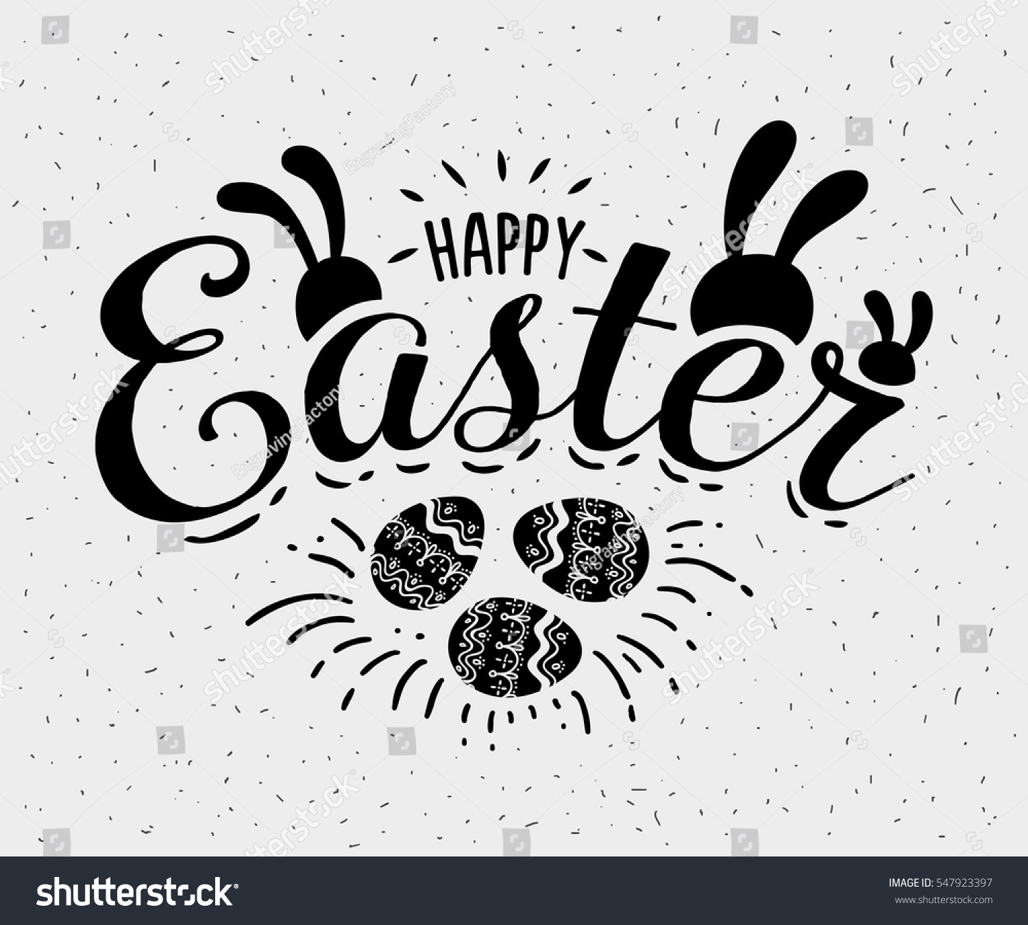 Happy Easter Hand Sketched Logotype Badge Stock Vector (Royalty Free ...