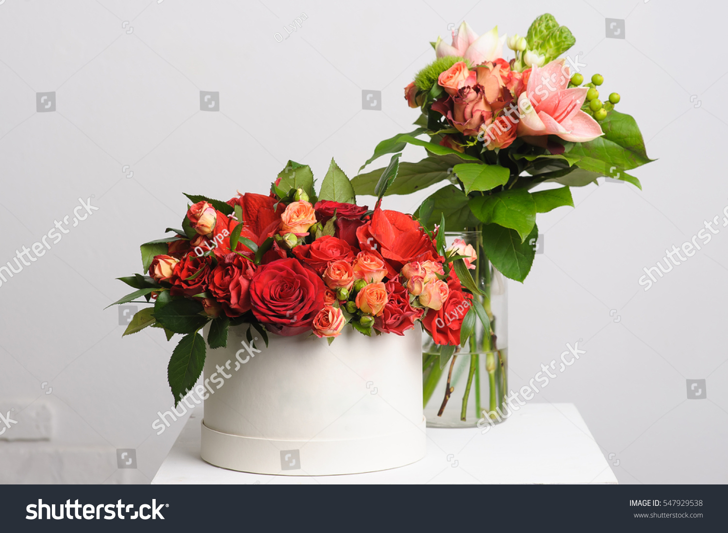 Flower Arrangement On Table Bouquet Roses Stock Photo Royalty Free