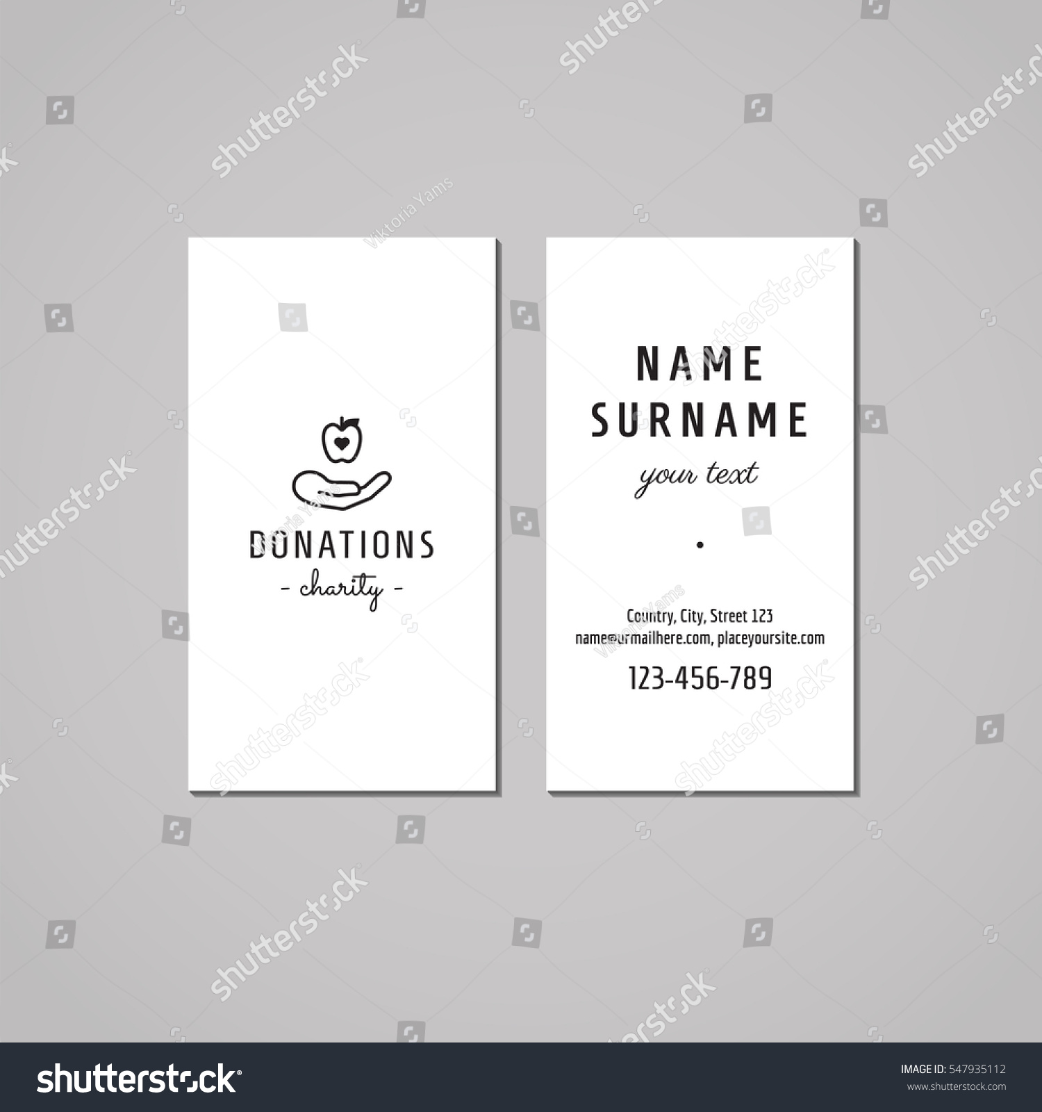 Donations Charity Business Card Design Concept Stock Vector ...
