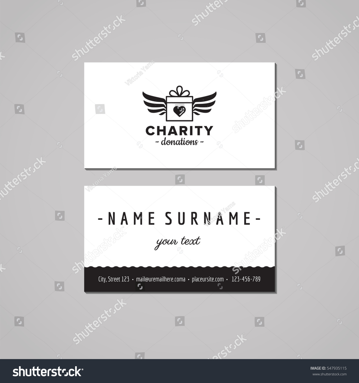 Donations Charity Business Card Design Concept Stock Vector