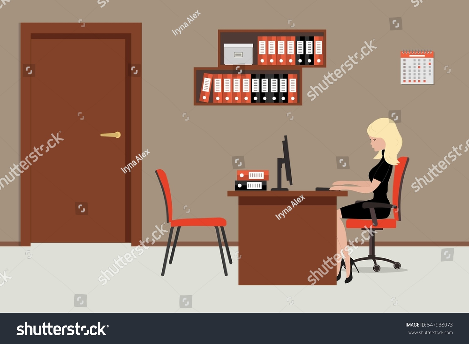 Web Banner Office Worker Room Near Stock Vector 547938073