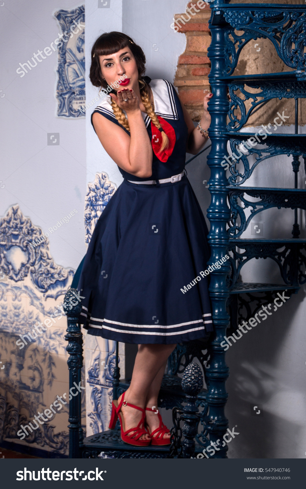 e2460f4d2 Cute Pinup Girl On Sailor Dress Stock Photo (Edit Now) 547940746 ...