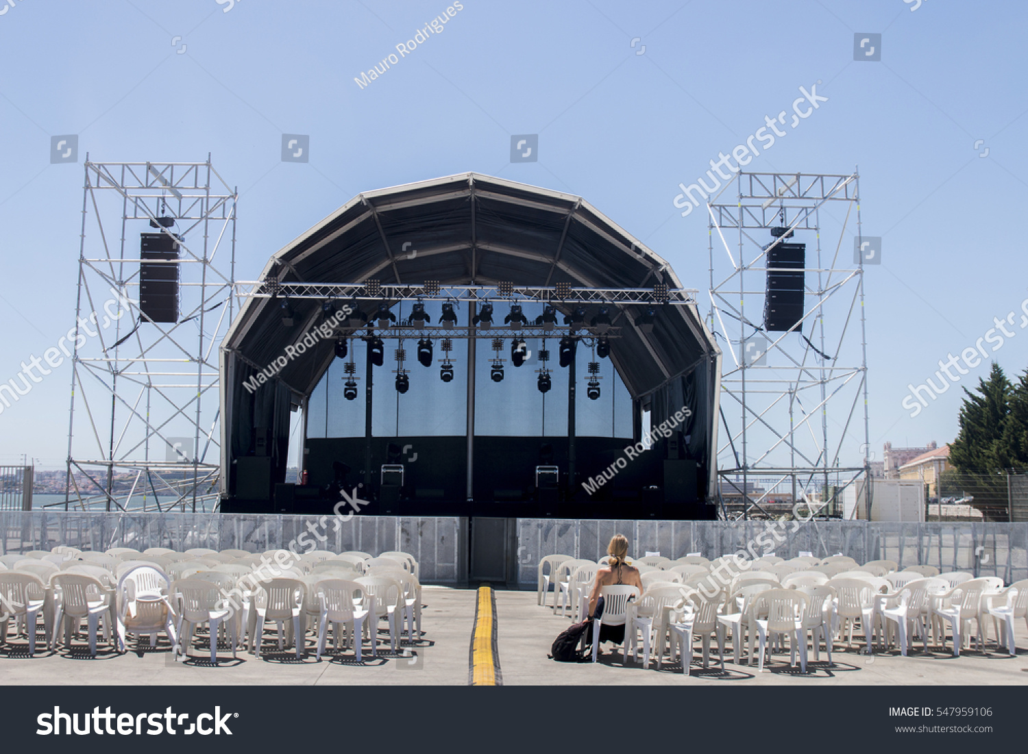 Empty outdoor concert stage - Empty Outdoor Concert Stage On A Sunny Day
