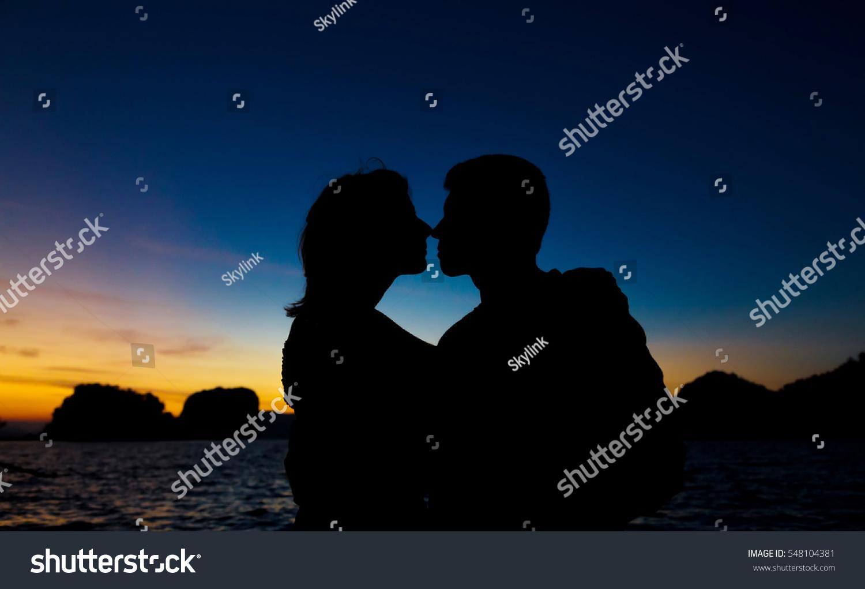 Romantic scene love couples twilight sky stock photo for Nice romantic scenes
