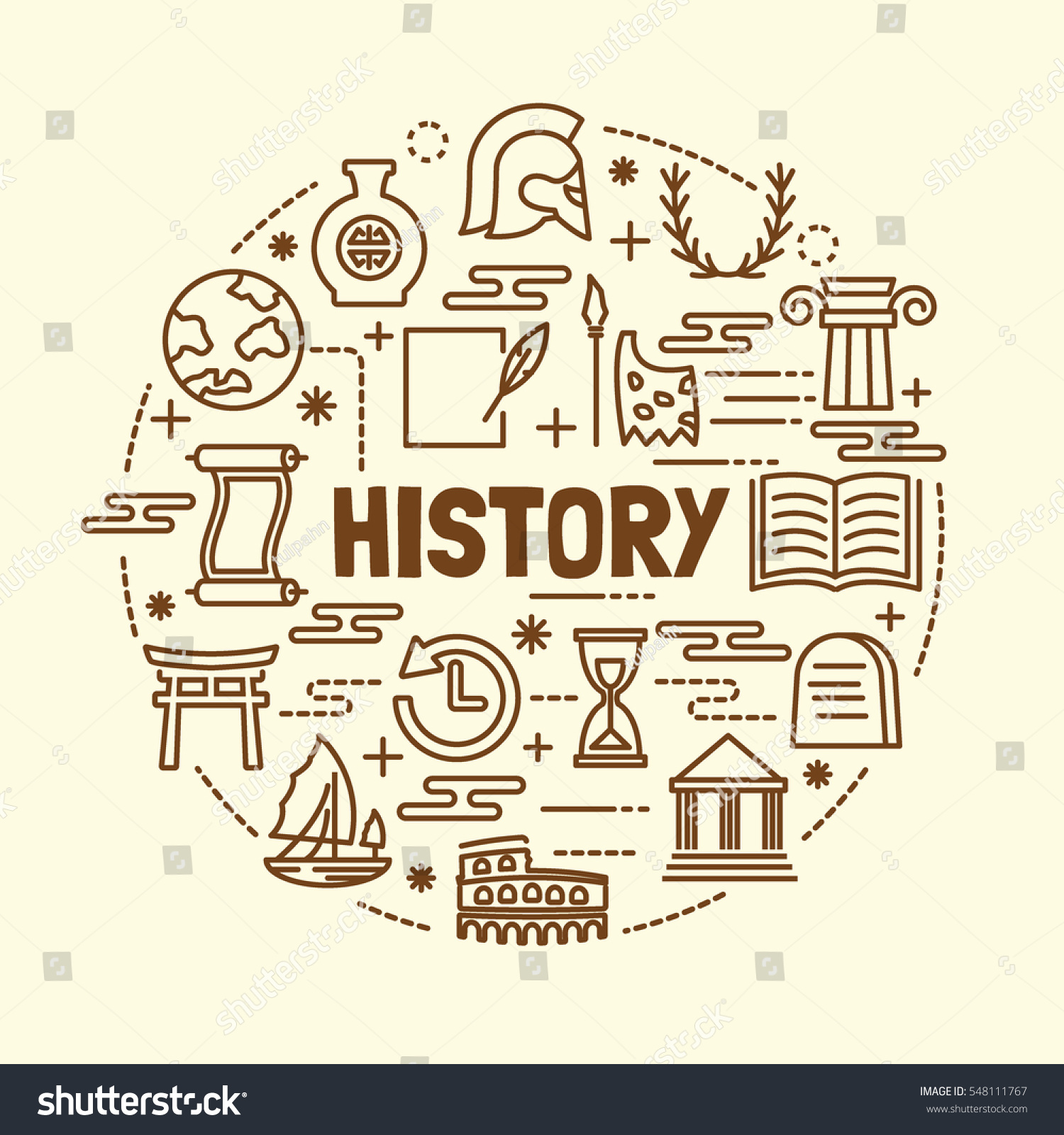 Line Art History : History minimal thin line icons set stock vector