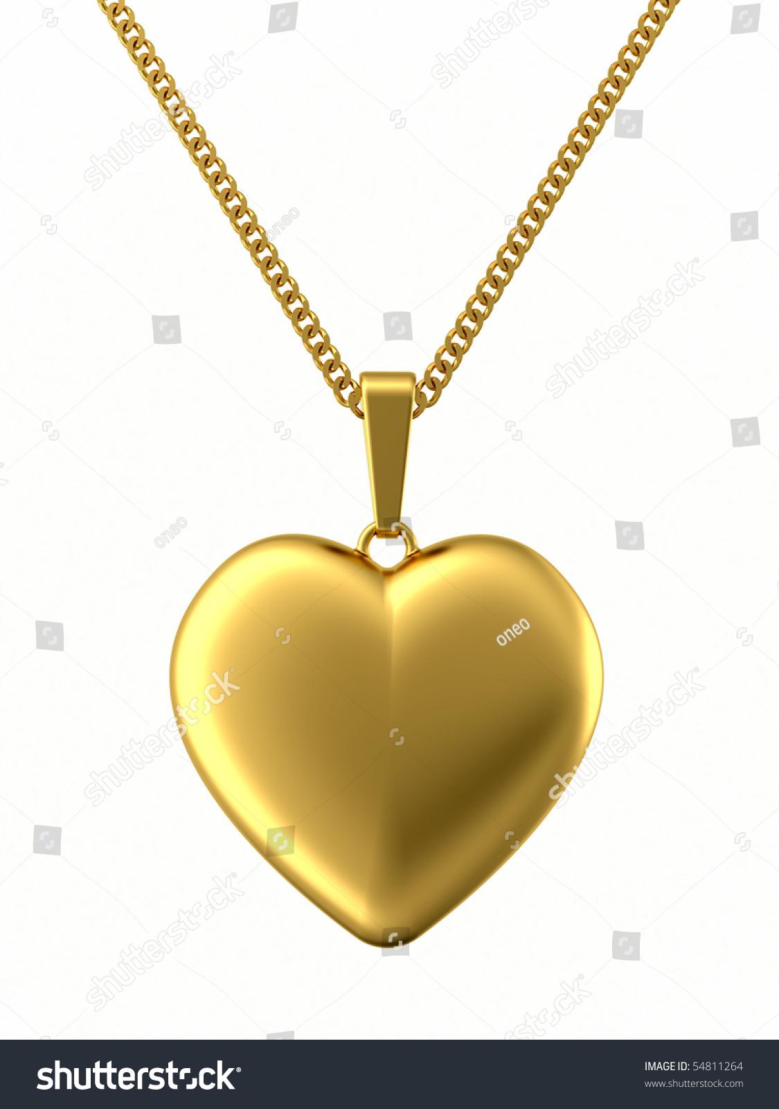Golden Pendant Shape Heart On Chain Stock Illustration 54811264 ...