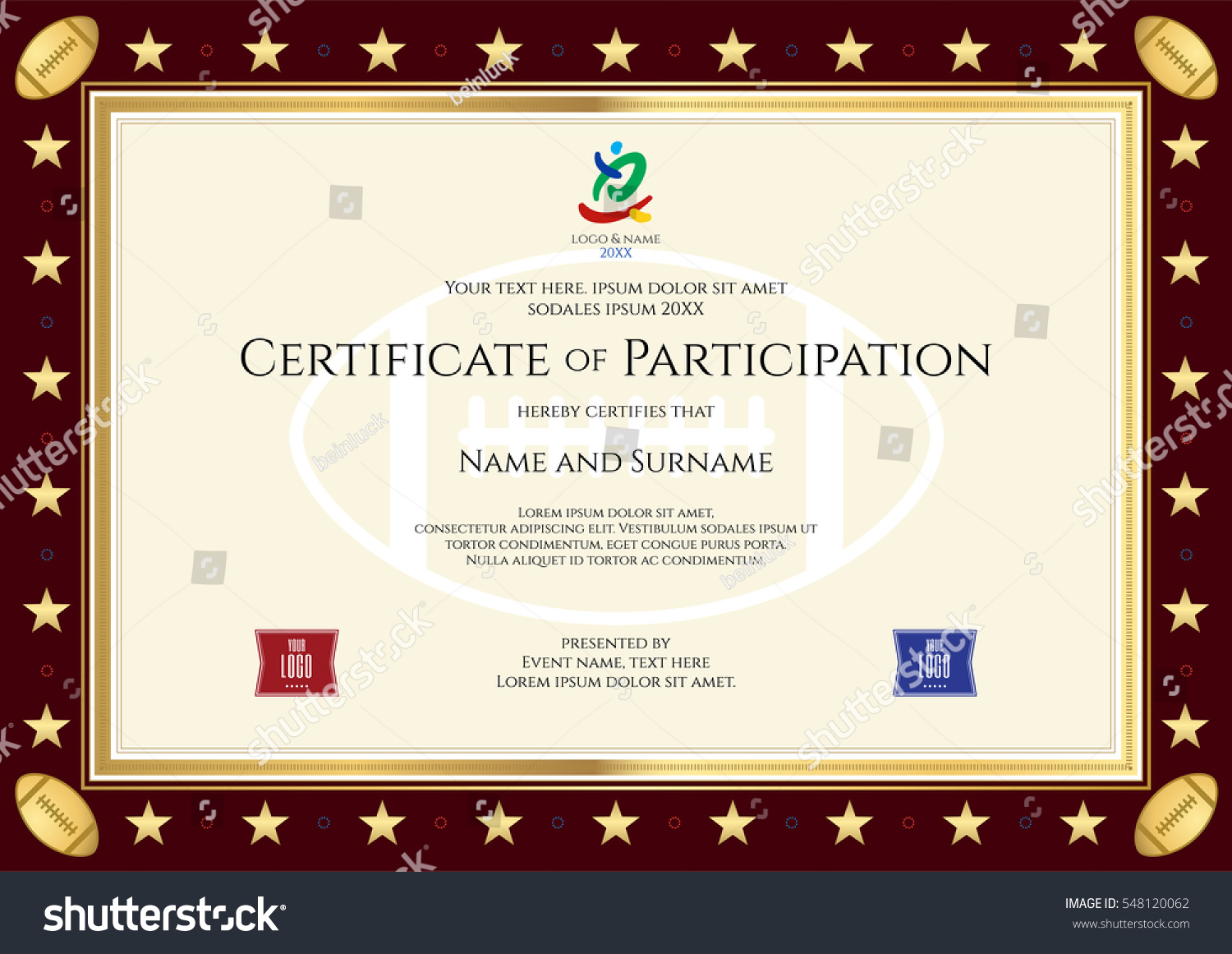 sport theme certification of participation template for sport or rugby event