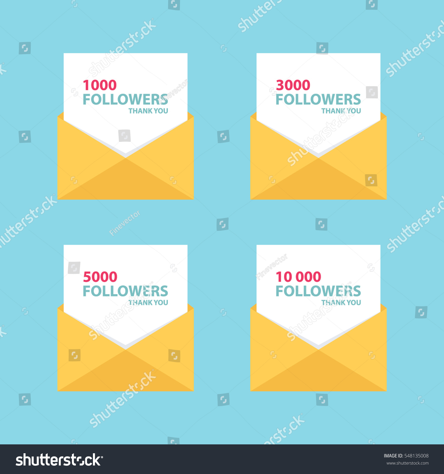 Thank you letters emails messages network stock vector 548135008 thank you letters emails or messages for network friends and followers set of card expocarfo Images