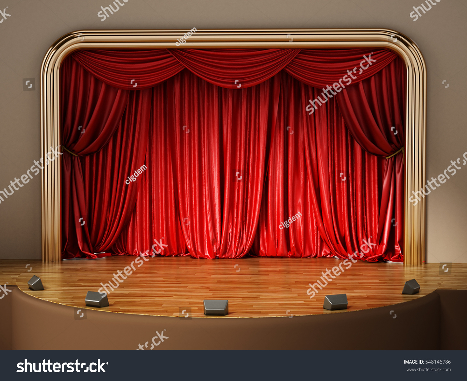 Closed theater curtains - Theater Stage With Closed Red Curtain 3d Illustration