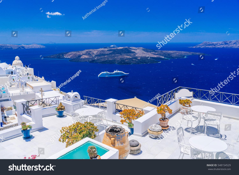 Santorini Volcanic Caldera Seen Fira Capital Stock Photo