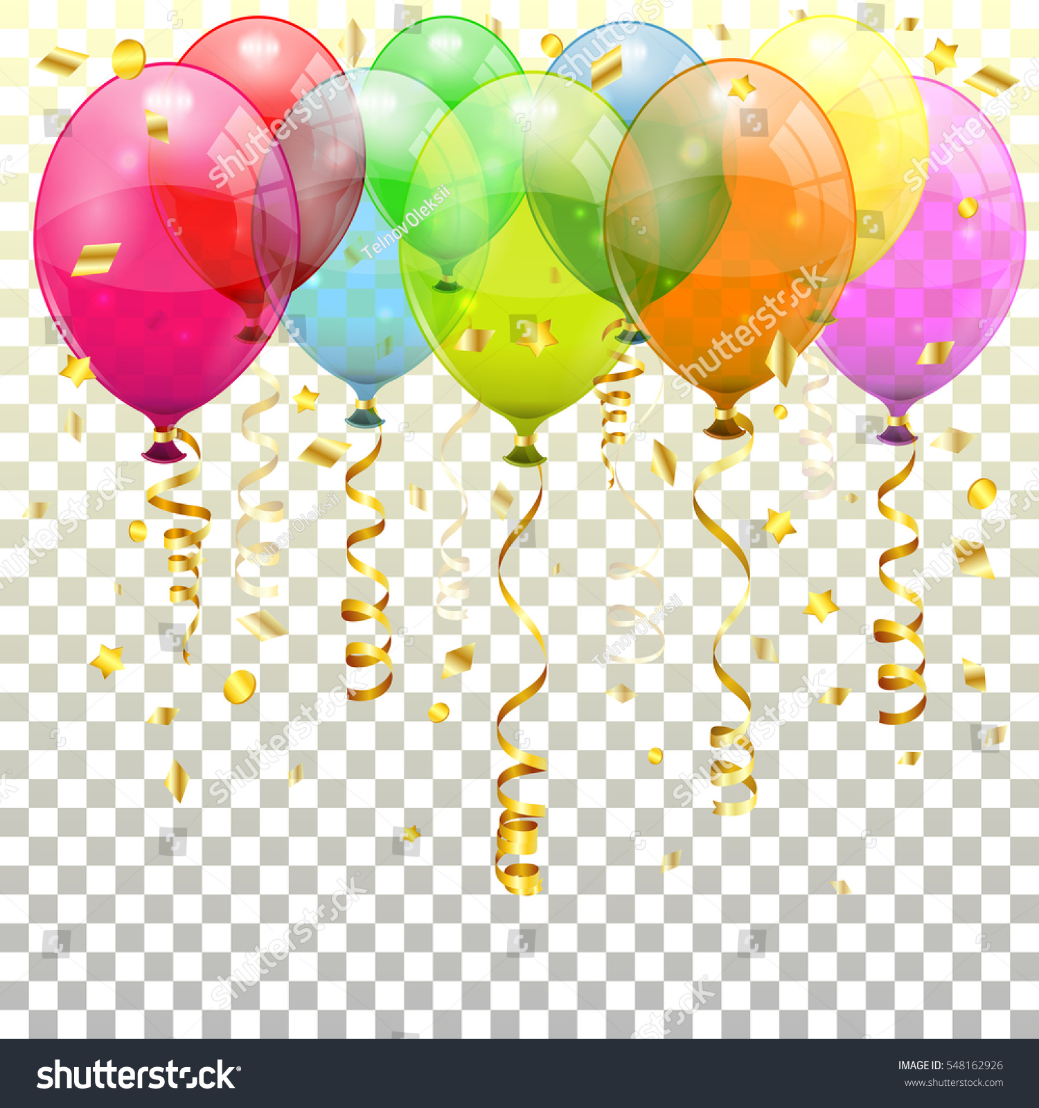 Holiday Background With Balloons And Confetti. Royalty Free ...