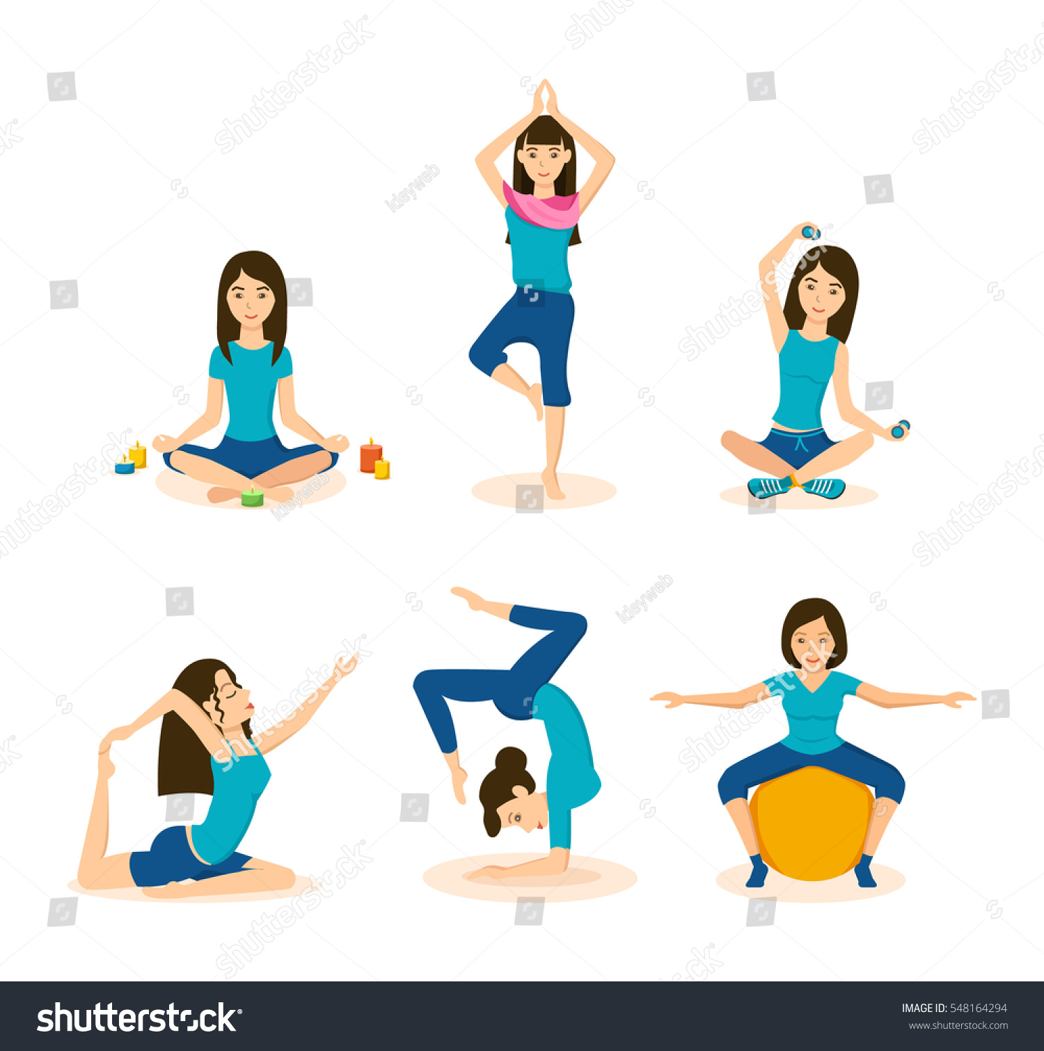Girls Doing Yoga Meditation Lotus Position Stock Vector Royalty Free 548164294