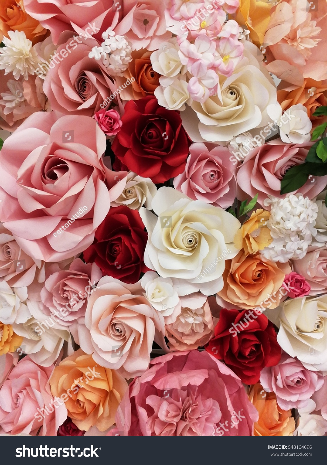Handmade Colorful Paper Flowers Background Stock Photo (Edit Now ...