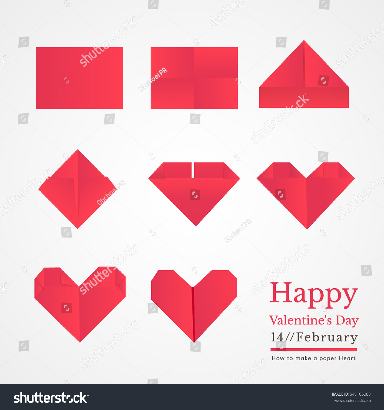 Step by step instructions how make stock vector 548166088 step by step instructions how to make a paper heart easy origami heart is perfect jeuxipadfo Image collections