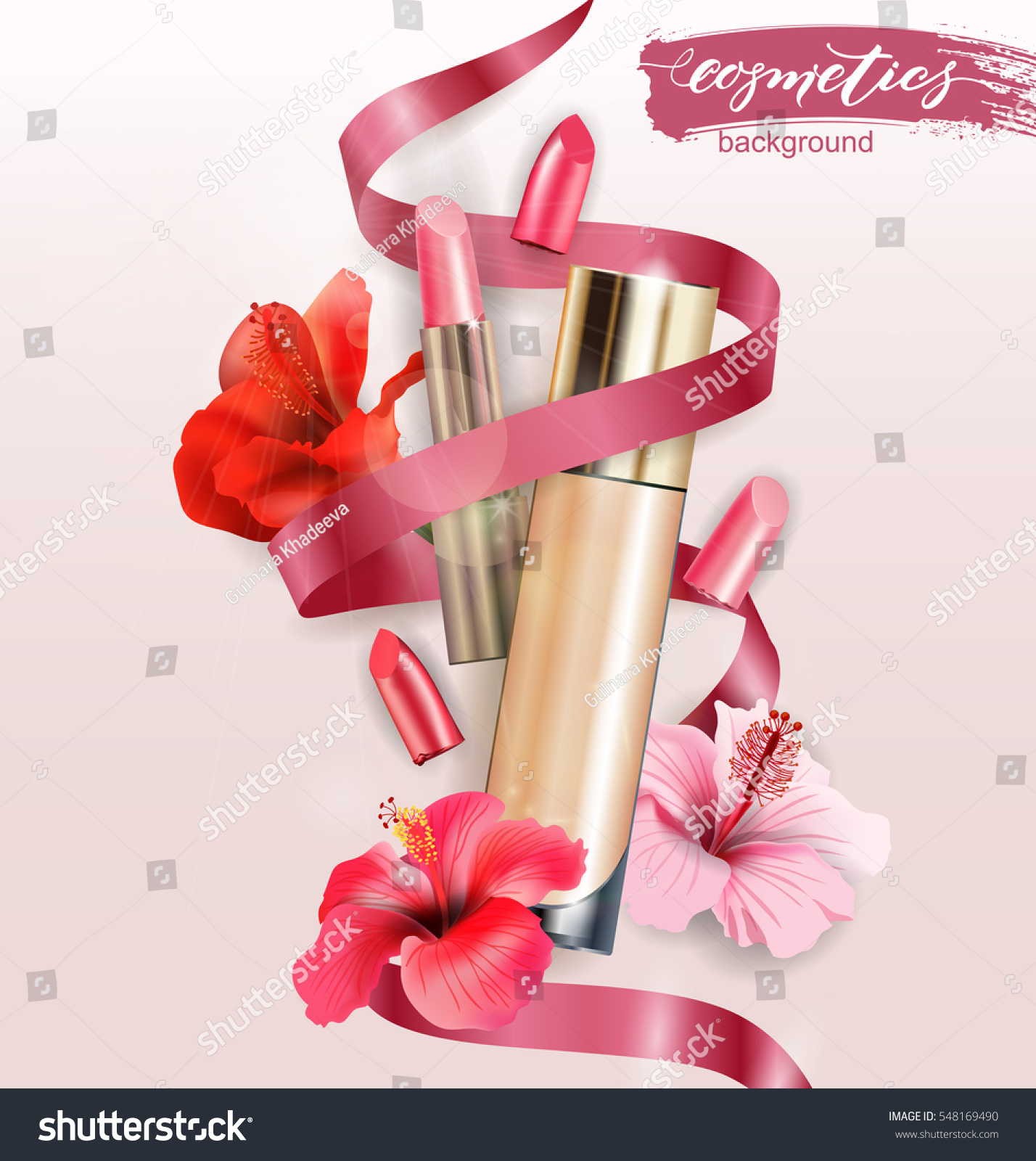 Cosmetic Product Foundation Concealer Creamwith Lipstick Stock