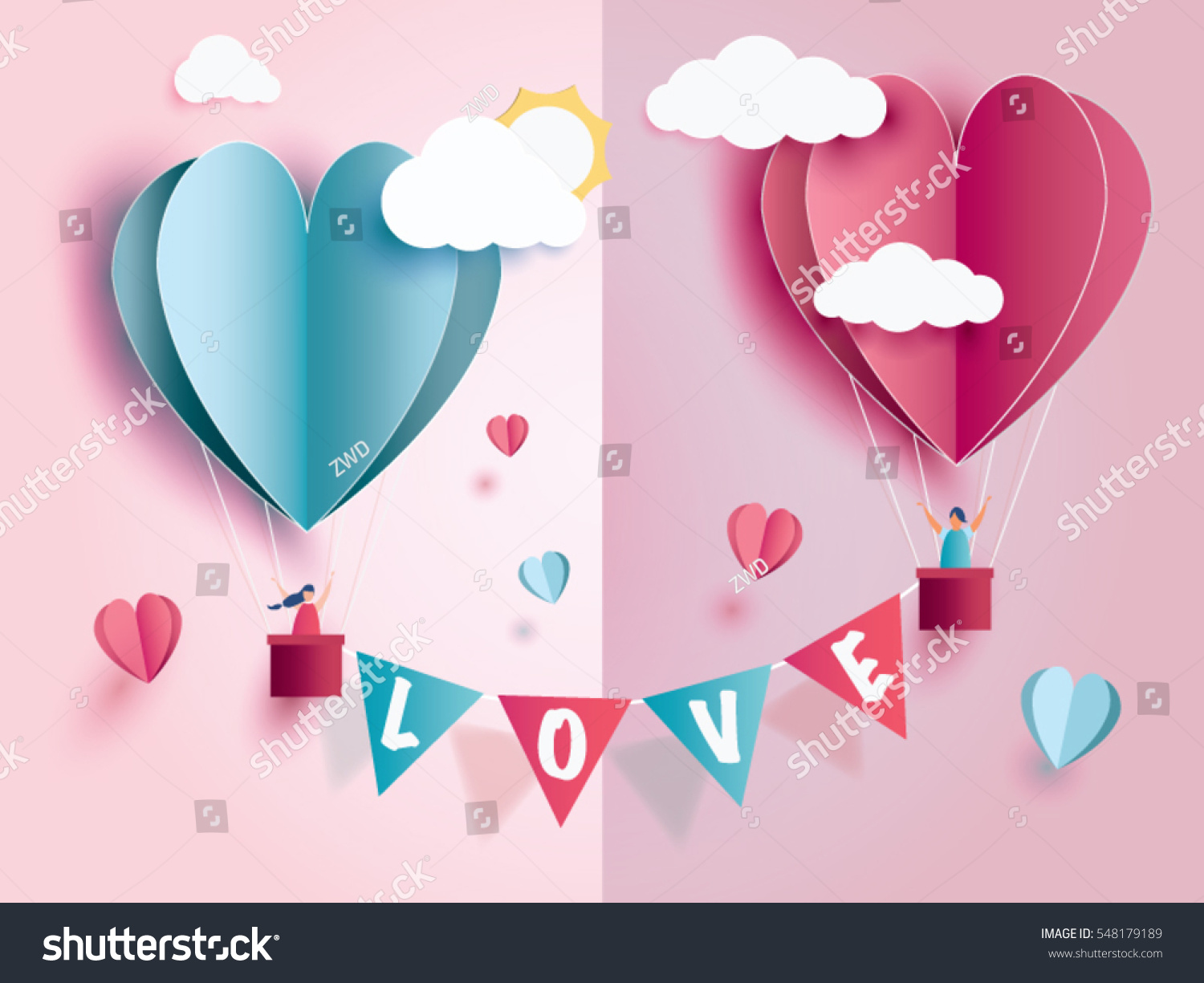 love Invitation card Valentine's day abstract background with text love and young joyful,clouds,paper cut pink heart. Vector illustration. #548179189