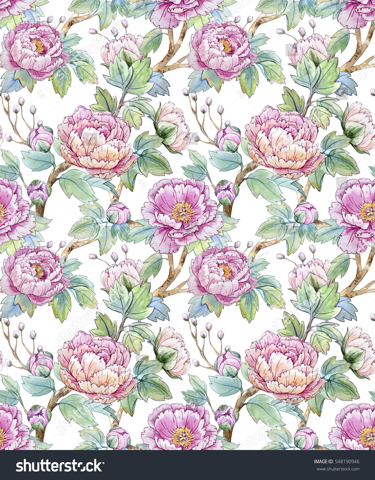 Watercolor Floral Pattern Chinese Style Spring Stock Illustration
