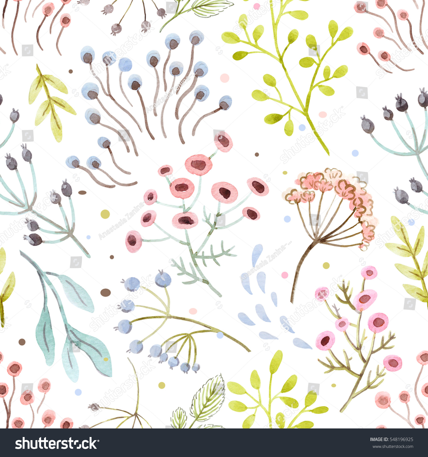 Cute Watercolor Flower Pattern Doodle