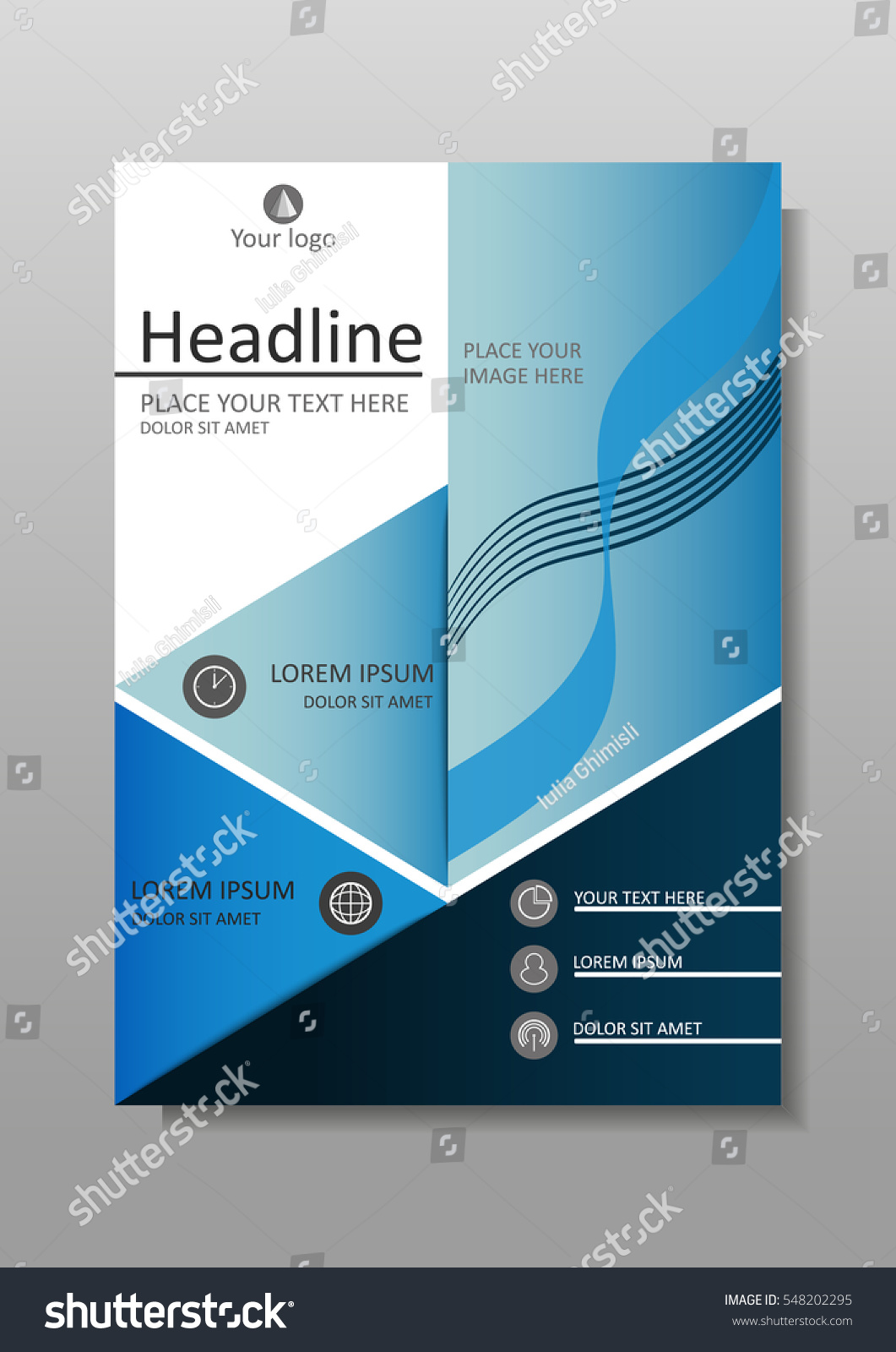 Book Cover Design Sites : Blue a business book cover design stock vector